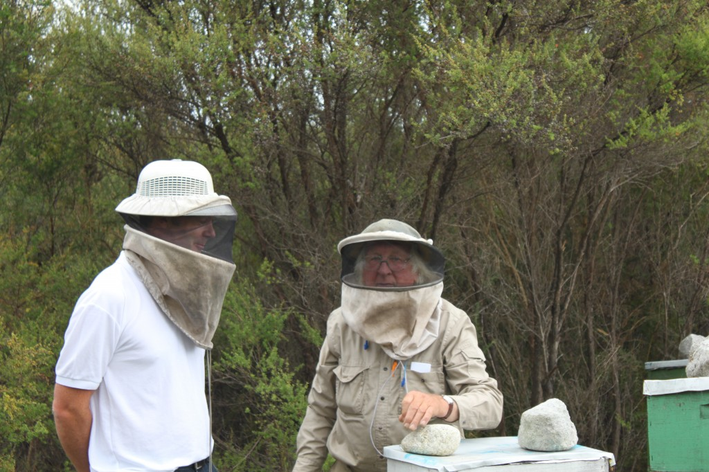 John Glass with our Manuka Honey apiarist in NZ
